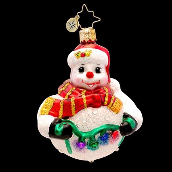 Christopher Radko Glass Tree Trim Frosty Snowman Gem Christmas Ornament #1017237