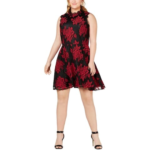 City Studio Womens Lace Overlay A-Line Dress