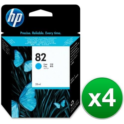 HP 82 69-ml Cyan DesignJet Ink Cartridge (C4911A) (4-Pack)
