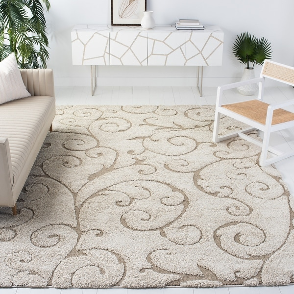 SAFAVIEH Florida Shag Shahin Scroll 1.2-inch Thick Rug. Opens flyout.
