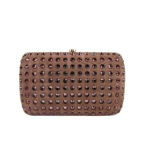 Gucci Women's Brown Suede Broadway Crystal Evening Clutch Bag 310005 5471 - One size