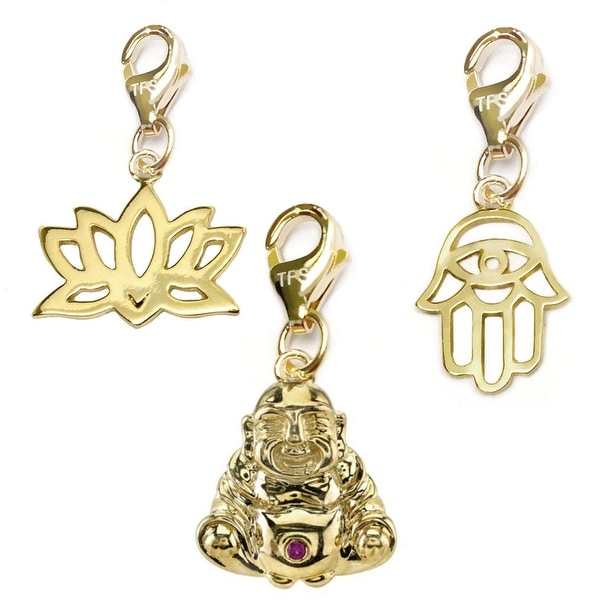 Julieta Jewelry Buddha, Lotus Flower, Hamsa Hand 14k Gold Over Sterling Silver Clip-On Charm Set