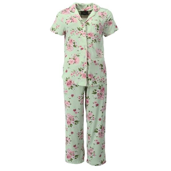 bca28bc64 PJ Couture Women  x27 s Short Sleeve Notch Collar Shirt and Capri Pajama Set