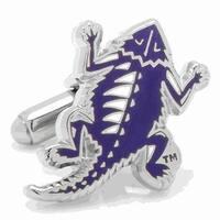 Rhodium Plated Texas Christian Horned Frogs Retro Logo Cufflinks TCU - Purple