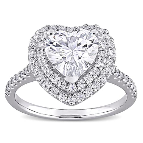 Miadora 2 5/8ct DEW Heart-cut Moissanite Double Halo Engagement Ring in 10k White Gold