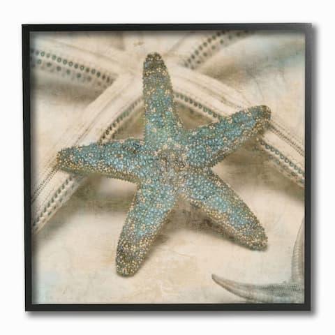 Stupell Industries Starfish Distressed Texture Blue Tan Design,12 x 12, Framed Wall Art