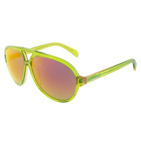 Diesel DL0075/S 95U Translucent Lime Green Teardrop Aviator sunglasses - 60-12-145