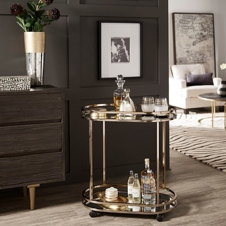 Link to Chesley  Champagne Gold Oval Bar Cart by iNSPIRE Q Bold - Bar Cart Similar Items in Home Bars