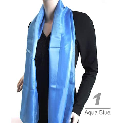 Women's Striped Sheer Polyester Satin Scarf SPS1301 - One Size For All
