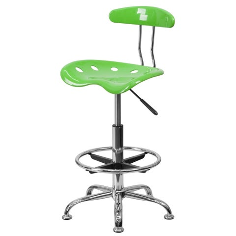 Delacora FF-LF-215 17.25 Inch Wide Metal Swivel Seat Drafting Stool with Tractor - N/A