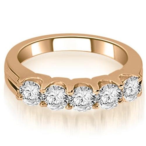1.00 cttw. 14K Rose Gold Round Cut Diamond Wedding Band