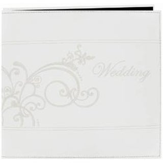 """White - Embroidered Scroll Leatherette Post Bound Album 12""""X12"""""""