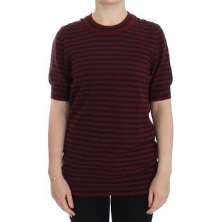Dolce & Gabbana Dolce & Gabbana Red Gray Cashmere Short Sleeve Sweater