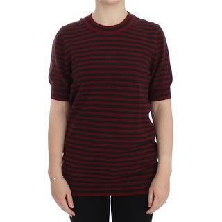 Dolce & Gabbana Red Gray Cashmere Short Sleeve Sweater