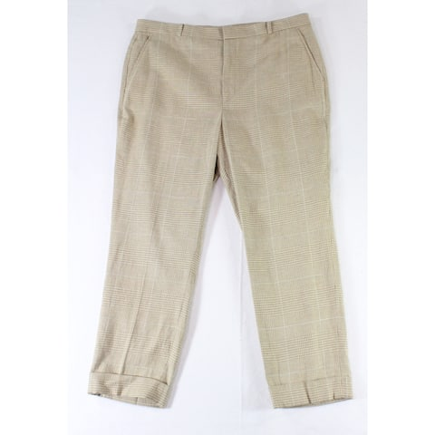 Lauren by Ralph Lauren Womens Beige Size 14 Glenn Plaid Wide Leg Pants