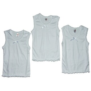 Girls White Tie Accent Frill Edge 3 Pc Tank Undershirt 3 Pc Tops Set