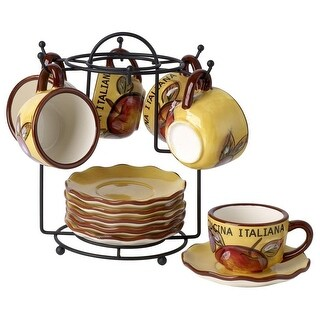 Cucina Italiana Dolomite Stone Espresso Cups and Saucers 13 Pc Set 2 Oz. with Metal Rack, Yellow