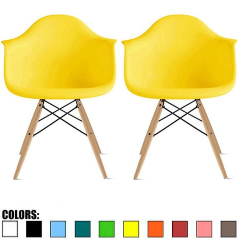 Set of 2 Plastic Chair Armchair With Arms Back Natural Wood Eiffel Leg For Dining Kitchen Work