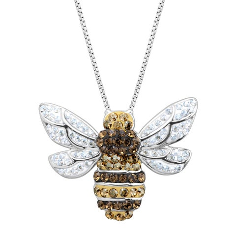 Bumblebee Pendant with Crystals in Sterling Silver