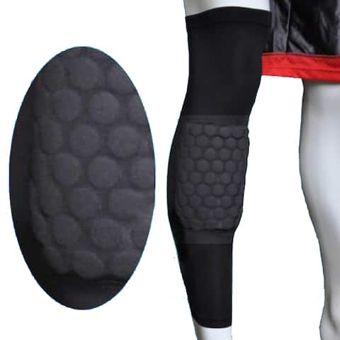Image Size XL Basketball Knee Pad Long Leg Sleeve Honeycomb Protective Gear Black