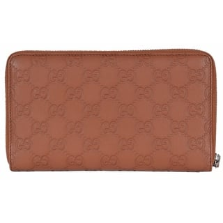"Gucci 391465 XL GG Guccissima Tan Leather Zip Around Travel Wallet Clutch - 8"" x 4.5""