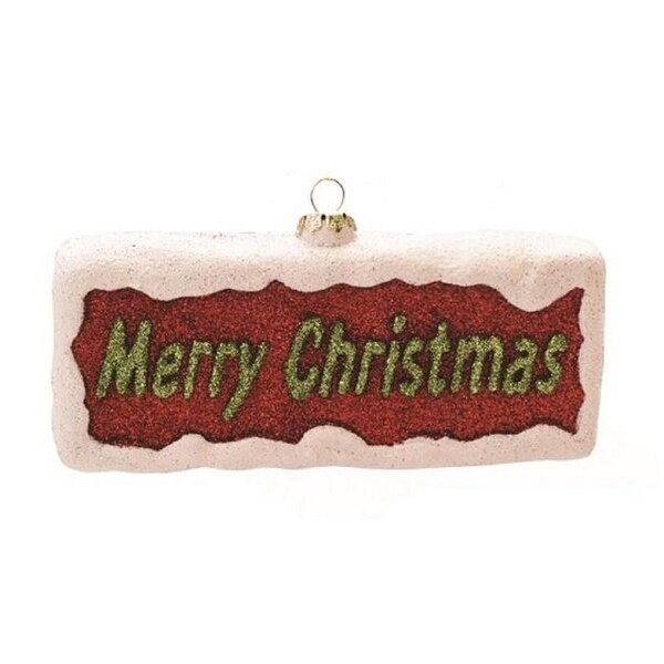 "5.5"" Merry & Bright Red, White and Green Glittered ""Merry Christmas"" Shatterproof Christmas Ornament - RED"