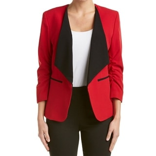 Nine West NEW Fire Red Womens Size 4 Ruched Sleeve Wing Lapel Jacket