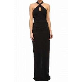 Nicole Miller NEW Black Women's Size 0 Halter Keyhole Ball Gown Dress