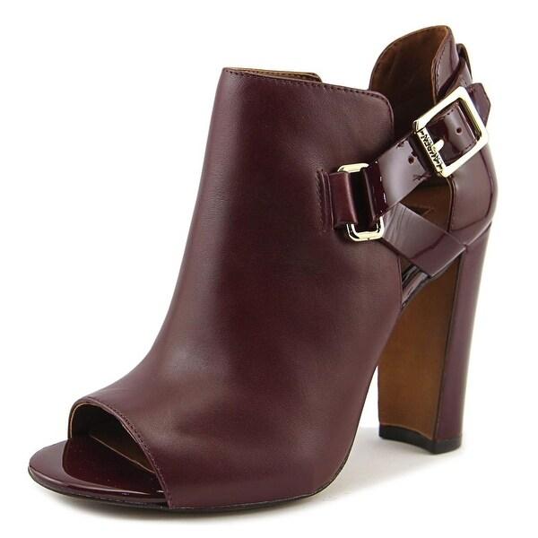 Lauren Ralph Lauren Kadence Women Open-Toe Leather Burgundy Ankle Boot