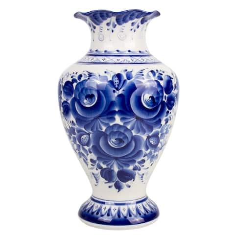 """Gzhel Tenderness 11.6"""" Blue and White Porcelain Flower Vase"""