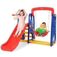 Goplus 3 in 1 Junior Children Climber Slide Swing Seat Basketball Hoop Playset Backyard - as pic