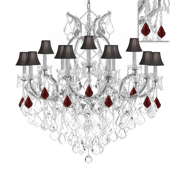 Swarovski Crystal Trimmed Maria Theresa Chandelier Dressed With Ruby Red Crystals Black Shades Silver