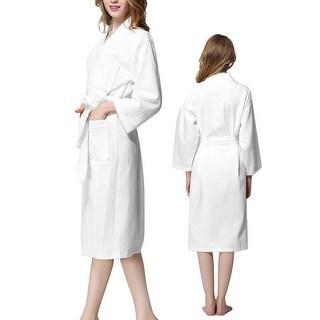 Lady Cotton Waffle Kimono Bathrobe Spa Robe Knee-length Sleepwear White XXL
