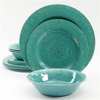 Gibson Studio Line By Laurie Gates 12 Piece Mauna Melamine Dinnerware, Green