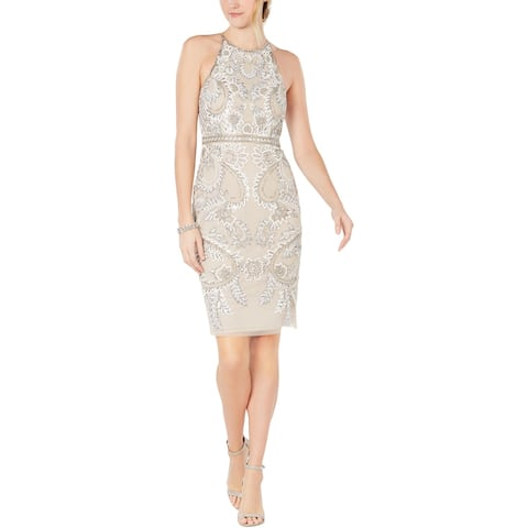 Adrianna Papell Womens Party Dress Embellished Halter - Biscotti