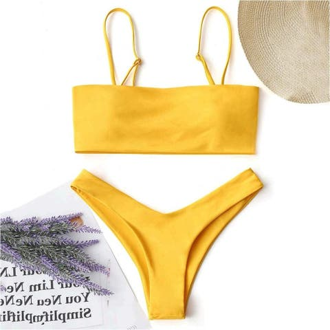 ZAFUL Women's Rainbow High Leg Swimsuit Two Pieces High Cut Cami Bikini Set - Large