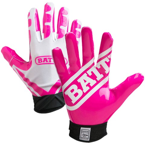 Battle Sports Science Receivers Ultra-Stick Football Gloves - White/Pink