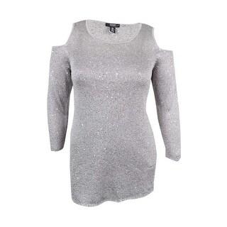 Alfani Women's Plus Size Sequined Cold-Shoulder Sweater