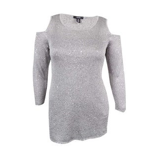 Alfani Women's Sequined Cold-Shoulder Sweater
