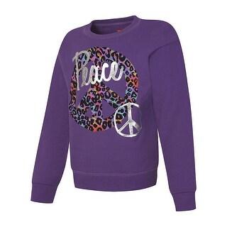 Hanes EcoSmart® Girls' Peace Crewneck Sweatshirt - Size - M - Color - Peace/Purple Thora - Assorted