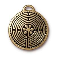 TierraCast Antiqued 22K Gold Plated Labyrinth Round Pendant 26.5mm (1)
