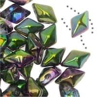 Czech Glass DiamonDuo, 2-Hole Diamond Shaped Beads 5x8mm, 12 Grams, Magic Orchid