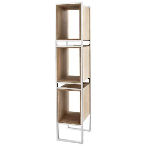 """Cyan Design Pueblo Book Shelf Pueblo 78.5"""" Tall Stainless Steel and Wood Book Shelf"""