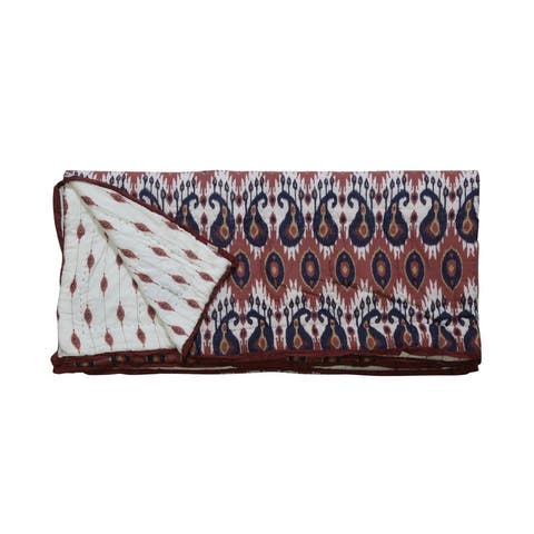 Timbergirl cotton handprinted red tribal quilt with 2 shams