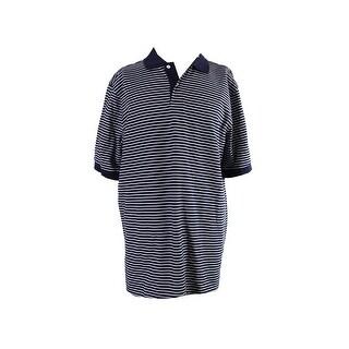 Club Room Big & Tall Navy Feeder-Stripe Polo Shirt LT