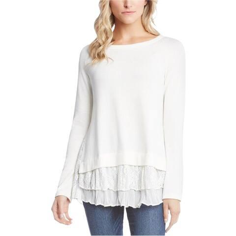 Karen Kane Womens Layered-Hem Pullover Sweater, White, Large