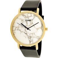 Cluse Women's La Roche  Black Leather Quartz Dress Watch
