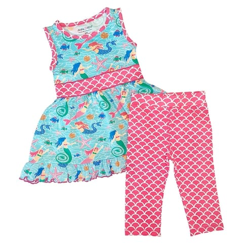 AnnLoren Little Big Girls Mermaid Dress Leggings Boutique Clothing Set Sizes 2/3T - 9/10