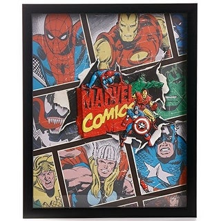 "Edge Home Products Marvel Retro 3D Molded Shadowbox Art, 12.5"" x 15.25"""