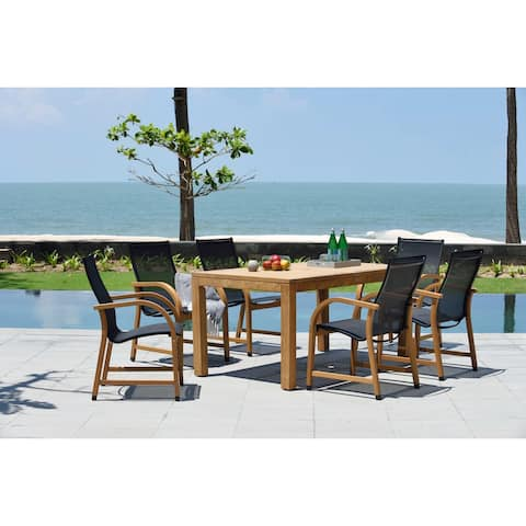 Lifestyle Garden 7-Piece Teak Outdoor Sling Dining Set